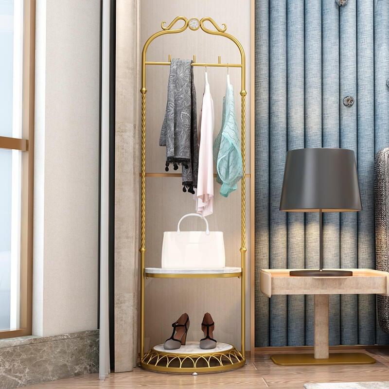 北歐 衣帽架 落地臥室家用轉角立式輕奢簡約服裝店多功能衣架置物架