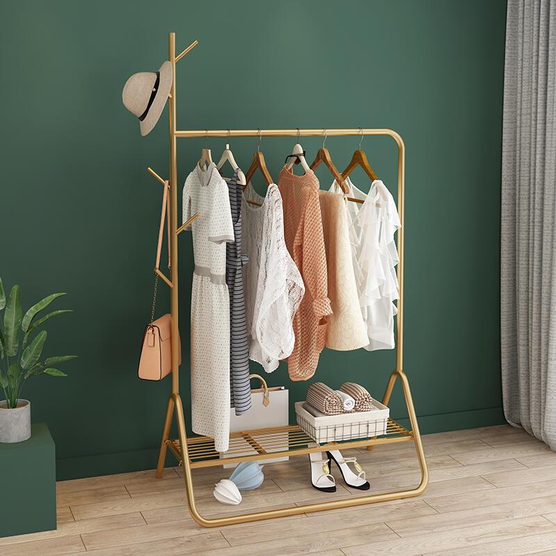 簡約現代鐵藝網紅 衣帽架 落地簡易衣服臥室家用置物收納掛衣架子