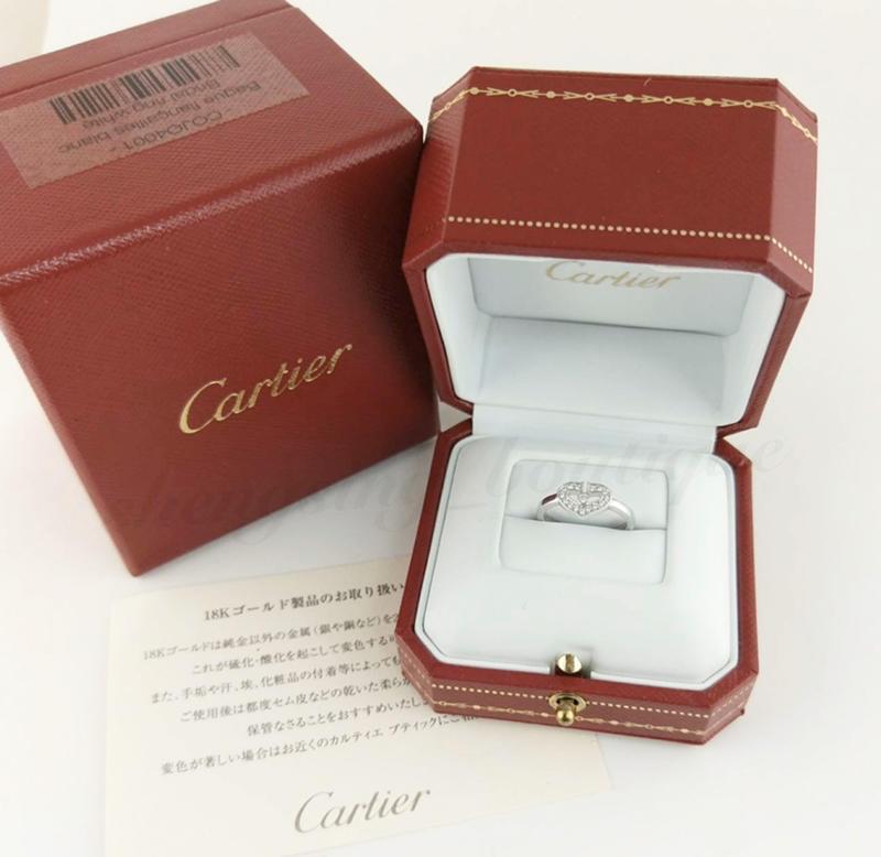 [二手正品]Cartier 白k金 心型鑽石戒 48號
