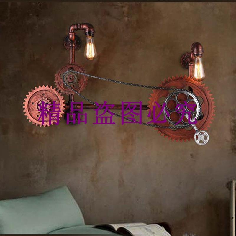 批發loft復古餐廳水管壁燈個性酒吧咖啡館鐵藝工業風過道車軸吊燈