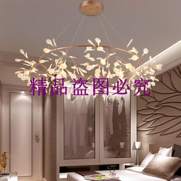 現代簡約螢火蟲枝形葉片led雪花吊燈創意客廳圓形吊燈餐廳吊燈