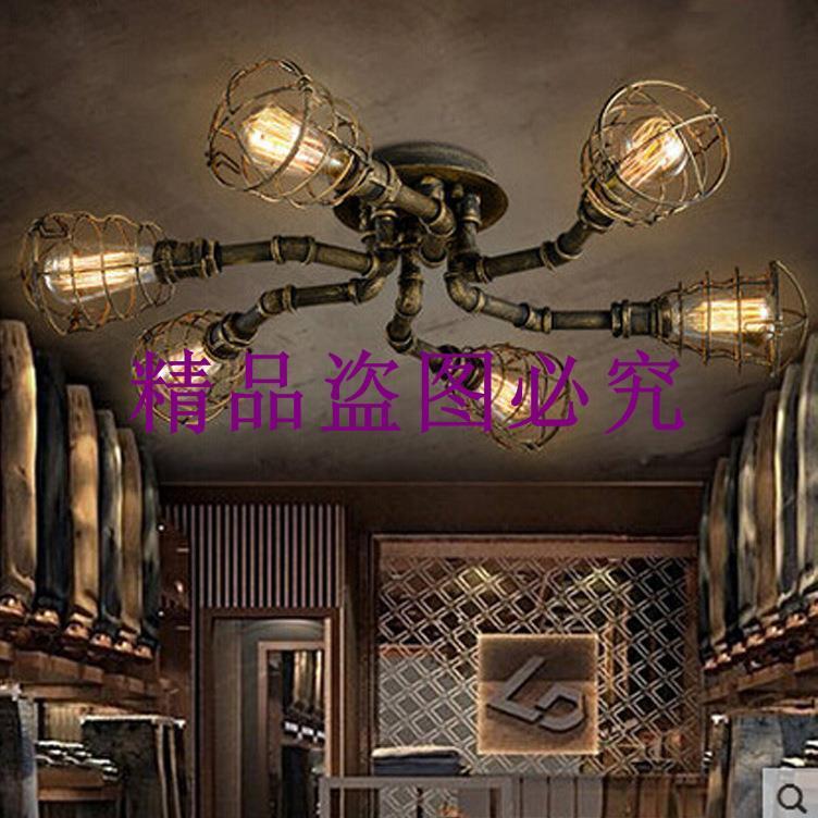 美式鄉村復工業風異形水管吸頂燈創意客廳餐廳鐵藝吸頂燈個性燈具