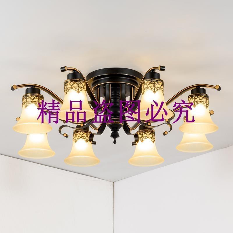 美式鄉村鐵藝吸頂燈北歐大廳餐廳燈溫馨簡約主臥室吸頂燈燈具