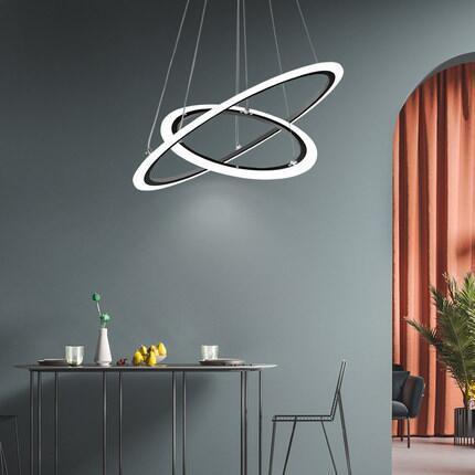 適用110V-220V北歐風吊燈現代簡約led客廳燈輕奢圓環大廳燈個性創意餐廳吊燈
