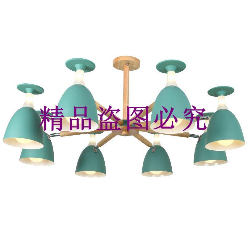 新款馬卡龍客廳吊燈實木臥室小戶型北歐簡約餐廳燈創意酒杯吊燈