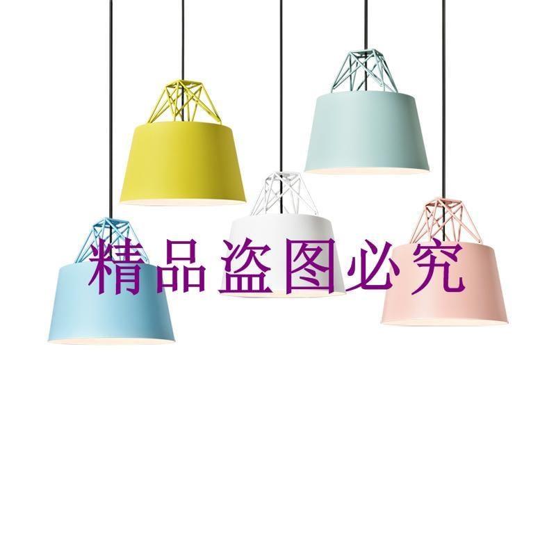 北歐餐廳燈具咖啡廳吧臺燈后現代簡約吊燈三頭創意馬卡龍飯廳吊燈