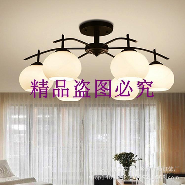 現代簡約鐵藝玻璃吸頂燈北歐時尚客廳燈簡歐臥室書房餐廳燈具