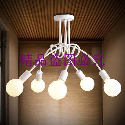 美式創意客廳書房餐廳3頭/5頭吸頂燈 田園簡約時尚LED燈具燈飾
