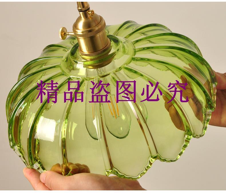批發老上海民國懷舊田園燈具餐廳咖啡廳純銅綠色玻璃復古風吊燈