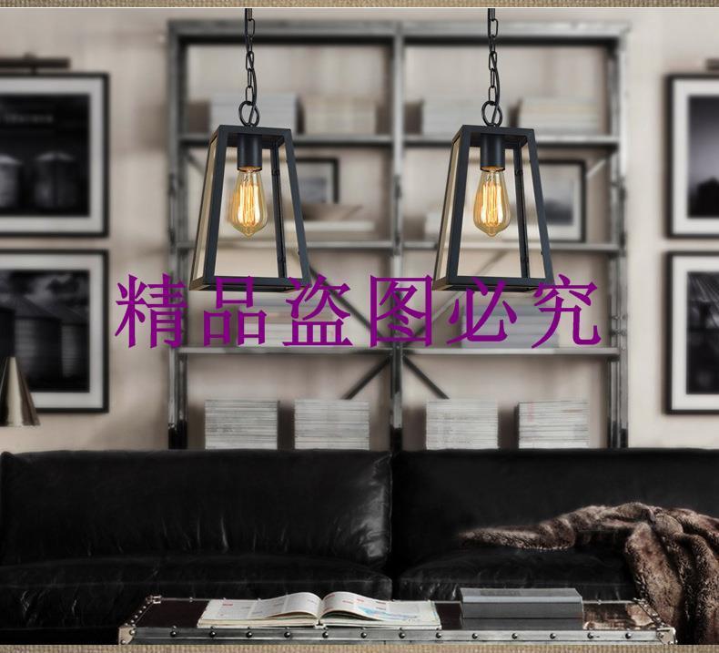 美式鄉村復古拉絲鐵藝玻璃箱單頭吊燈餐廳咖啡廳玄關小吊燈