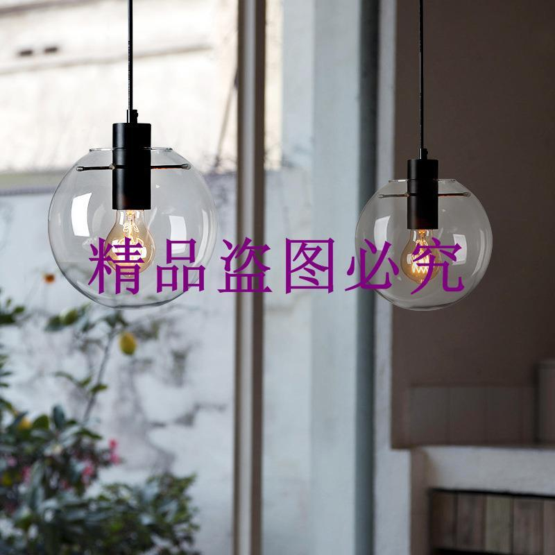 批發北歐現代簡約玻璃圓球吊燈 時尚個性創意 單頭餐廳吧臺燈飾