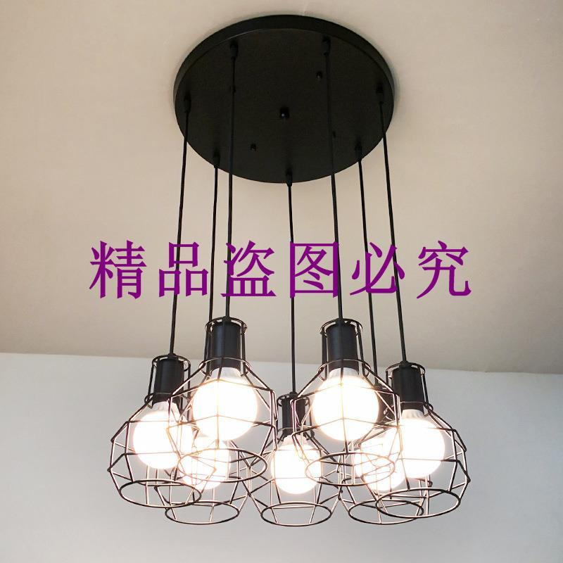 北歐復式樓梯長吊燈loft工業風創意餐廳閣樓個性復古多頭吊燈