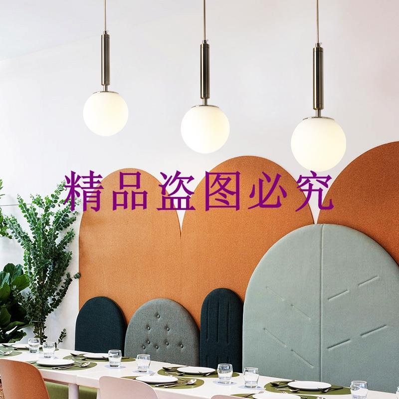 現代簡約北歐玻璃球ins單頭三頭創意個性臥室床頭吧臺餐廳小吊燈