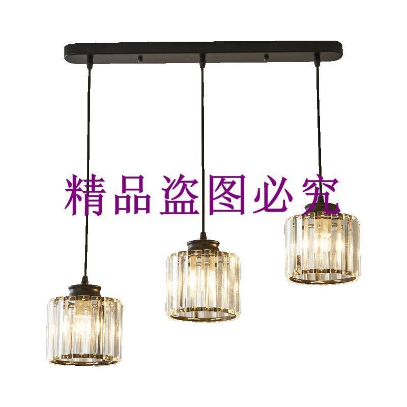 批發后現代水晶吊燈2019新款餐廳三頭吊燈黑色 金色多頭水晶燈