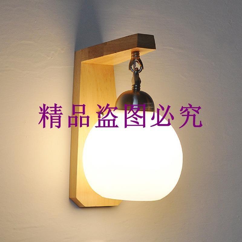愛德蘭木燈現代簡約日式樓梯墻壁臥室床頭實木藝壁燈玻璃吊鏈壁燈