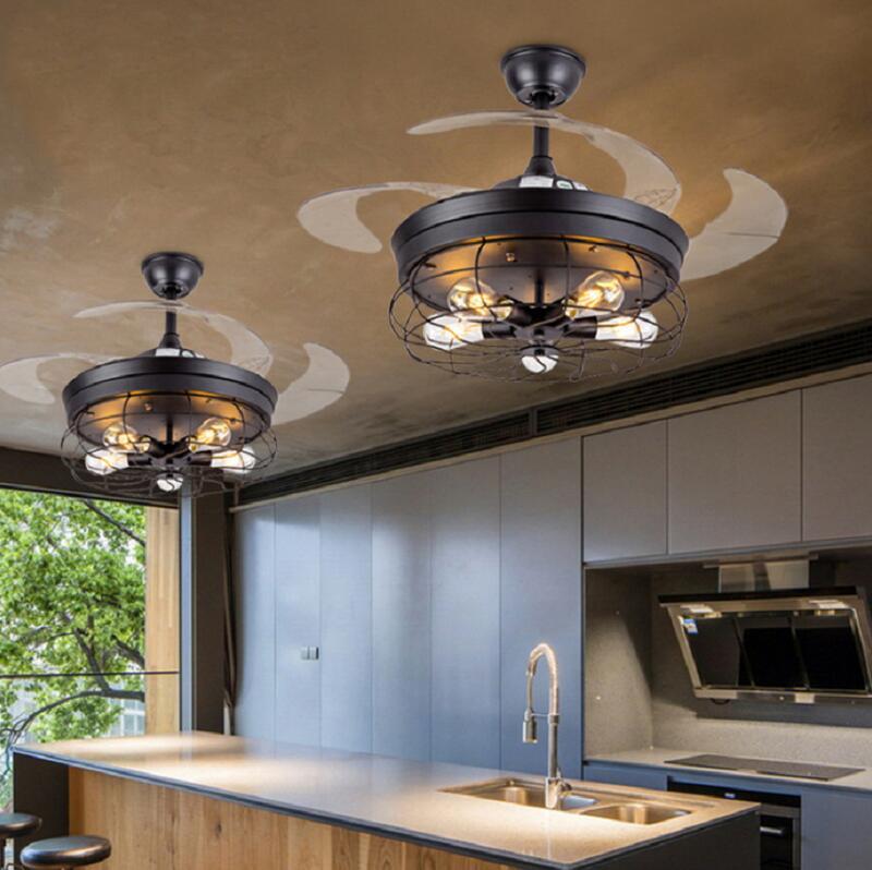 適用110V-220V美式復古吊扇燈餐廳隱形風扇燈北歐工業風客廳帶LED變頻風扇吊燈