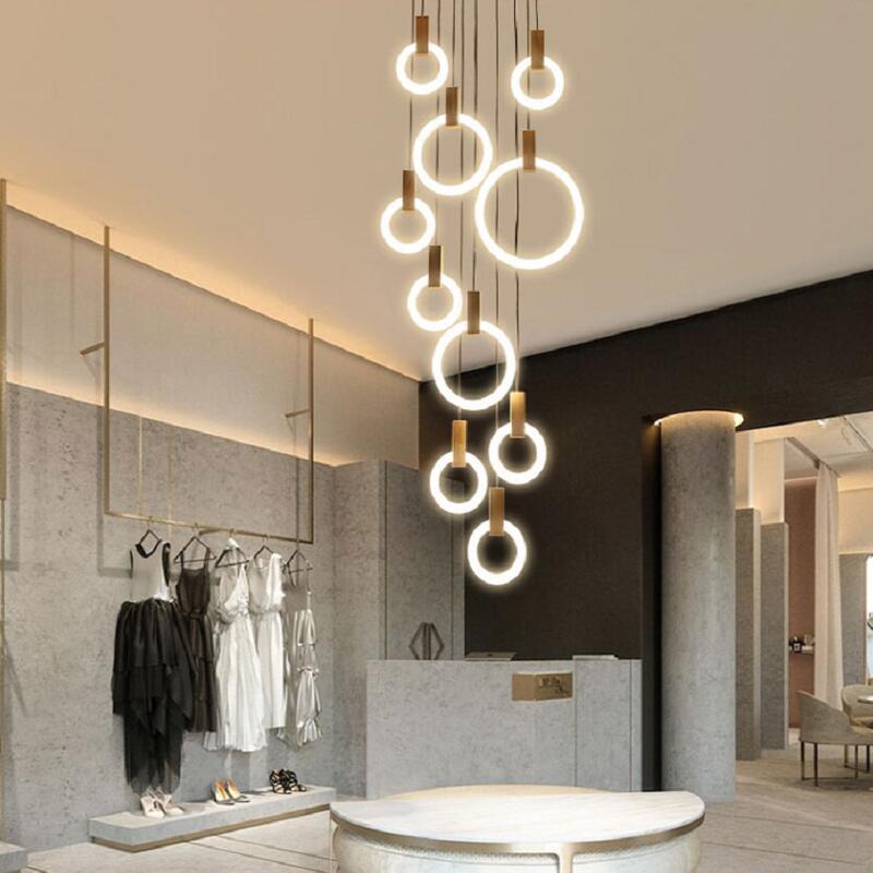 適用110V-220V樓梯吊燈長吊燈旋轉復式樓客廳燈現代簡約北歐創意樓梯間餐廳吊燈