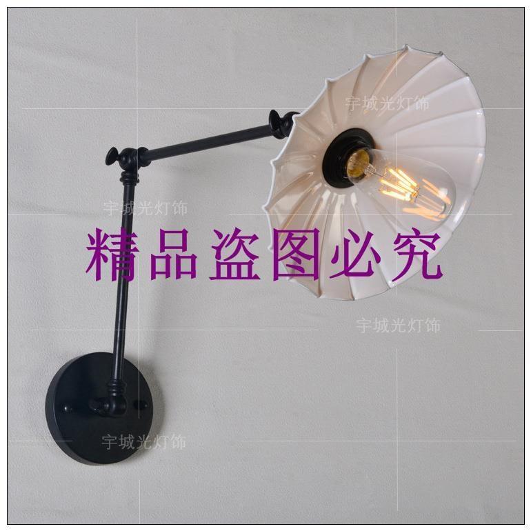 帶開關壁燈工業復古鐵藝伸縮加長搖臂餐廳咖啡廳床頭壁燈跨境專供