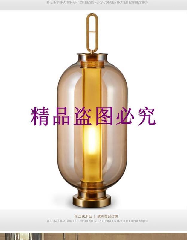 新古典現代新中式美式電鍍玻璃燈籠造型床頭客廳書房時尚裝飾臺燈