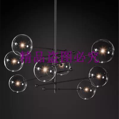 美式玻璃球簡約創意北歐后現代客廳餐廳樣板房魔豆幾何線條吊燈