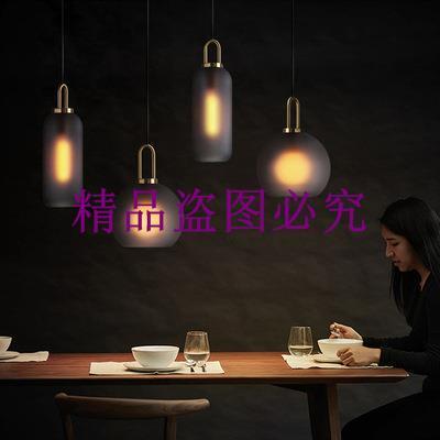 后現代ins輕奢餐廳燈 北歐個性創意吧臺臥室床頭玻璃圓球單頭吊燈