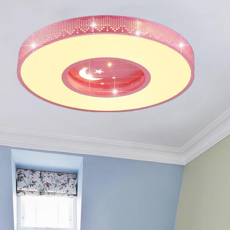 適用110V-220V圓形吸頂燈超薄流星圓 led護眼燈 卡通臥室燈書房燈幼兒園燈
