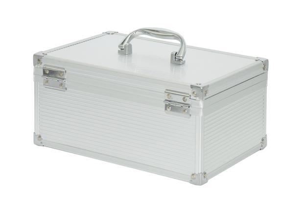 小花-富祥 收錢箱小錢箱收銀箱商用帶鎖手提超市現金盒簡易鋁合金箱子