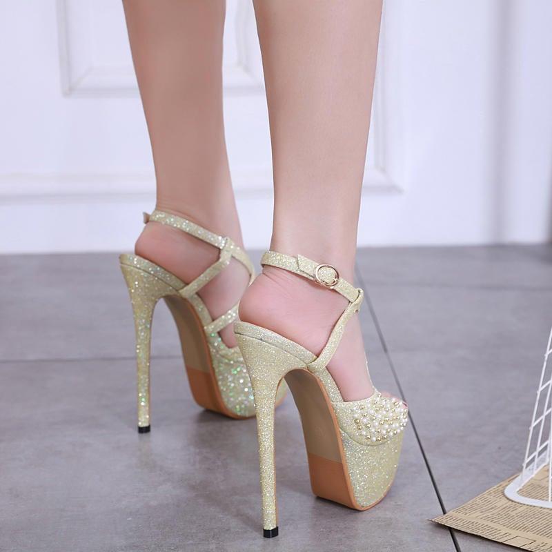 金涼鞋新款17公分超高跟鞋性感恨天高夜店細跟顯瘦涼鞋魚嘴鞋16CM