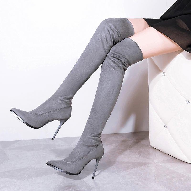 秋冬新款長筒靴女過膝長靴細跟高跟尖頭性感顯瘦黑色灰色10CM