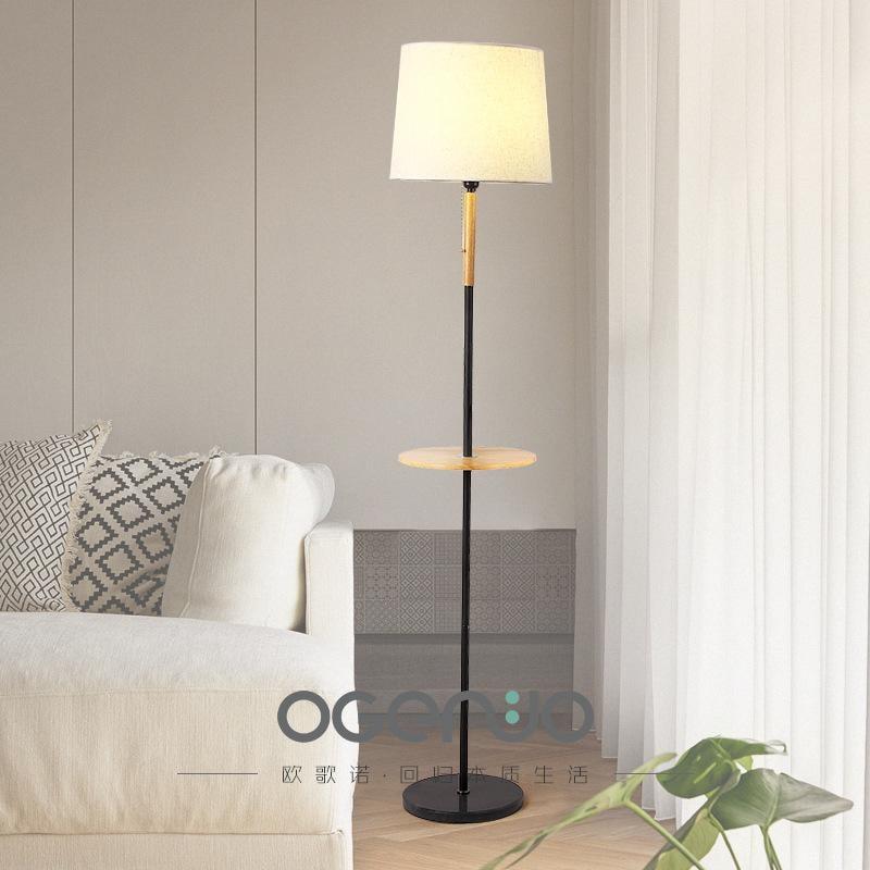 北歐風格創意實木落地燈沙發置物臥室桌板床頭臺燈現代簡約客廳燈