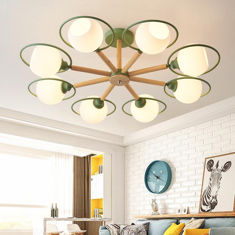 北歐燈具客廳吊燈簡約現代臥室燈大氣創意個性馬卡龍餐廳燈實木燈