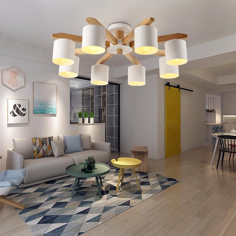 木藝客廳吊燈北歐風格燈具時尚家用餐廳燈簡約現代LED大氣臥室燈