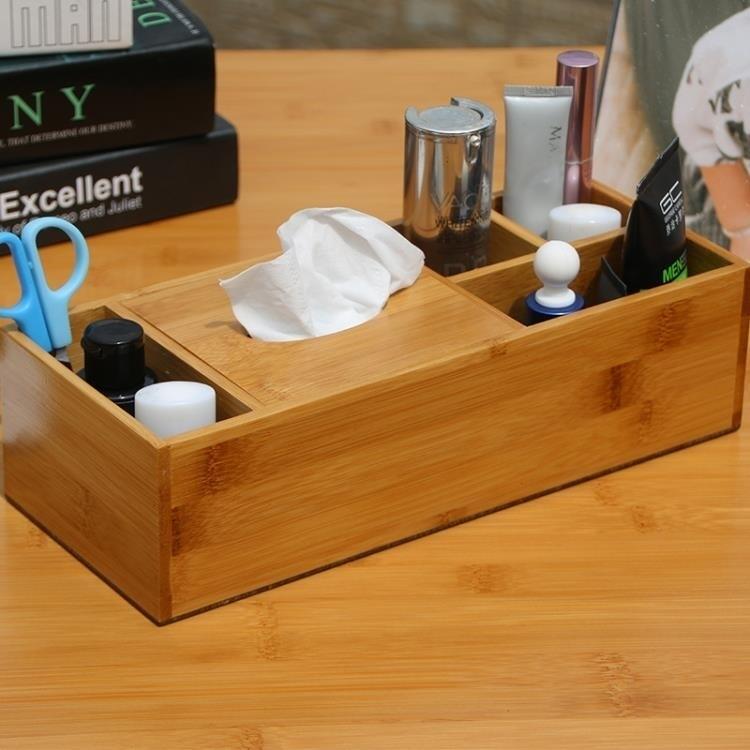 紙巾盒 創意多功能生活用品紙巾收納盒 實木楠竹桌面整理免安裝  量販優選線上賣場