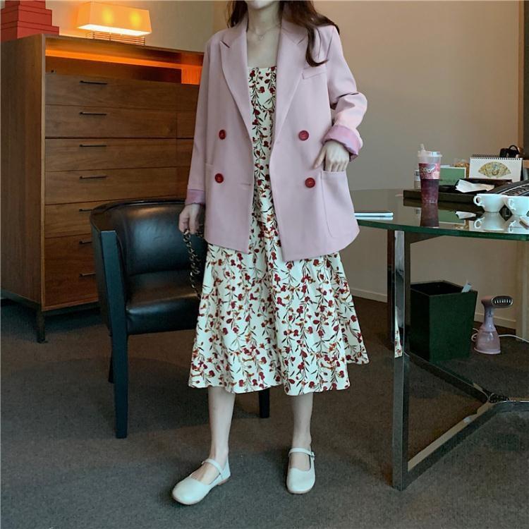 大碼遮肚子套裝減齡時髦洋氣西裝外套兩件套胖mm吊帶za碎花連衣裙 童趣屋  新品