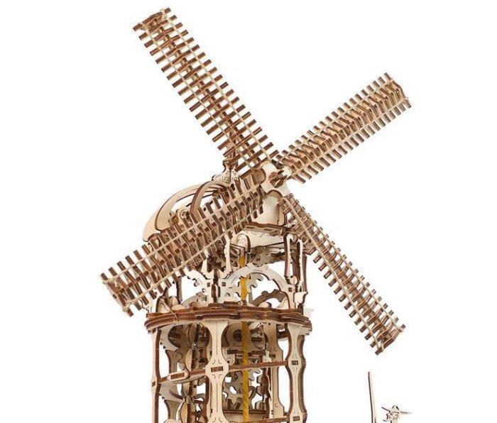 拾暖 UGEARS木質機械傳動模型建築歐洲塔式風車diy組裝玩具