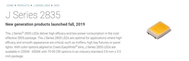 美國LED封裝大廠 2835 LED(2700K & 6500K色溫) 90CRI 6V 1W