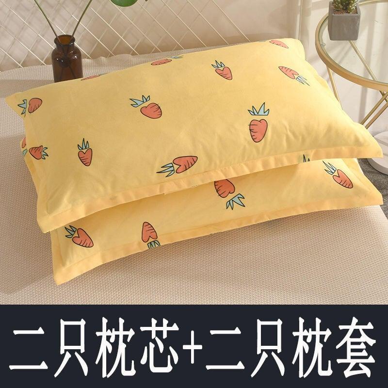 枕頭套裝枕頭芯成人枕芯一對裝單人學生宿舍可愛少女心情侶可拆洗-ZZ