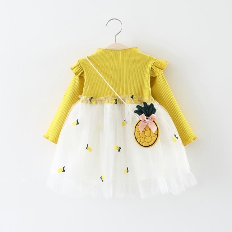 兒童洋裝 童裝女小童洋裝春秋季兒童長袖網紗公主裙子0一1-3歲女寶寶秋裝--Stone雜貨鋪