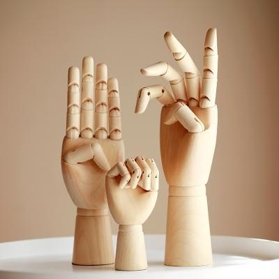 全館免運北歐居家裝飾木手模型木偶人木頭可動關節手掛首飾繪畫素材擺件-糖果原創