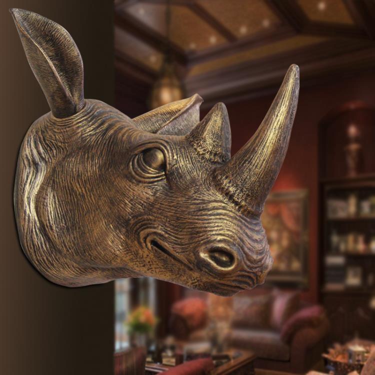 歐式墻壁酒吧墻飾壁飾墻面創意犀牛頭壁掛1入-開心購