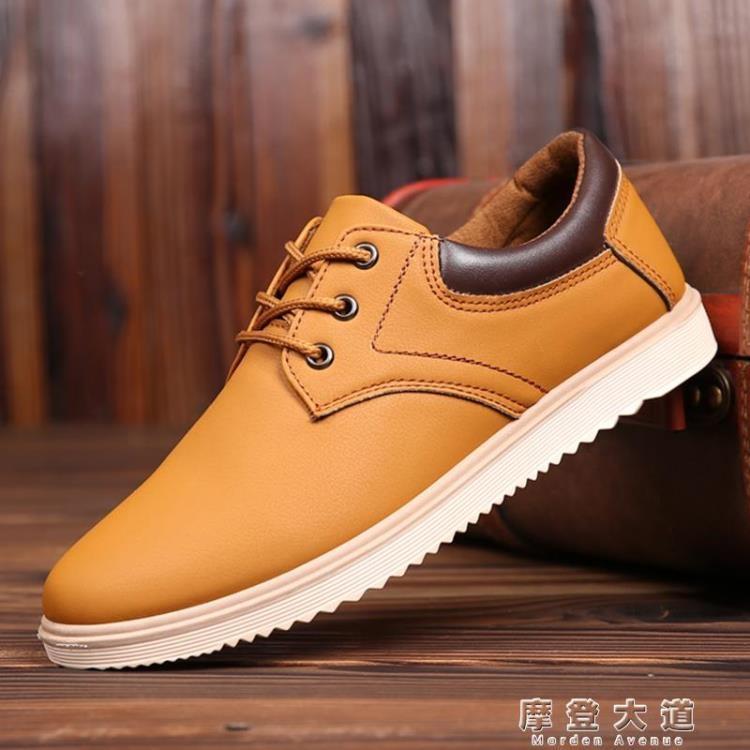 男士防滑工裝鞋春秋季新款男鞋英倫休閒皮鞋百搭潮鞋防水工作鞋子