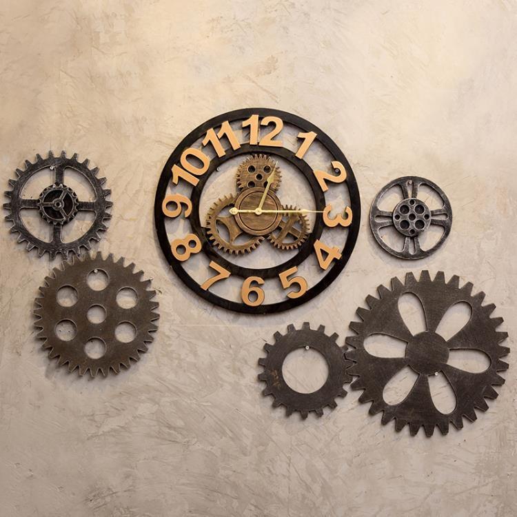 復古工業風掛表酒吧創意個性美發店鐘表裝飾齒輪掛鐘墻上時鐘掛件-開心購