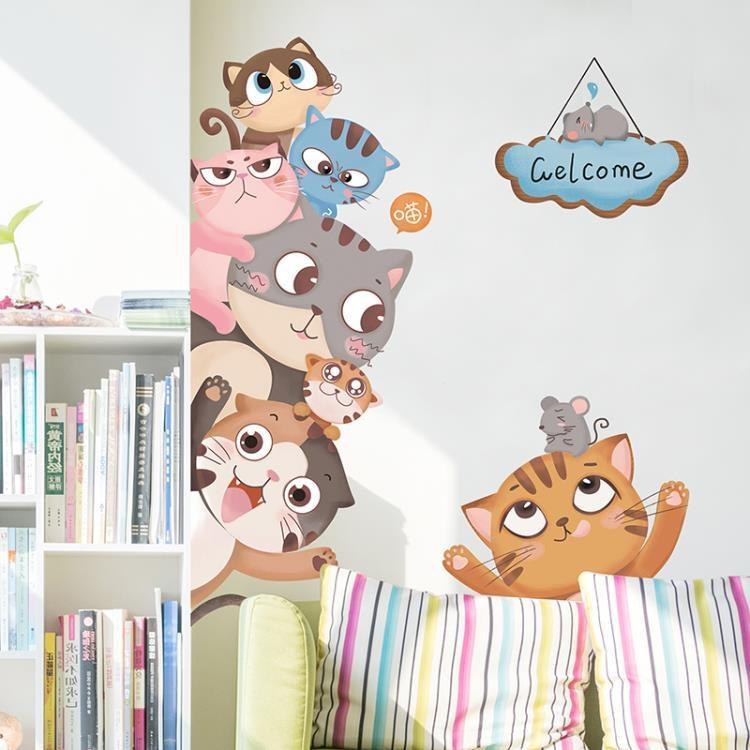 卡通動物兒童房臥室墻壁裝飾房門貼3D立體墻紙自粘房間墻貼畫貼紙禮