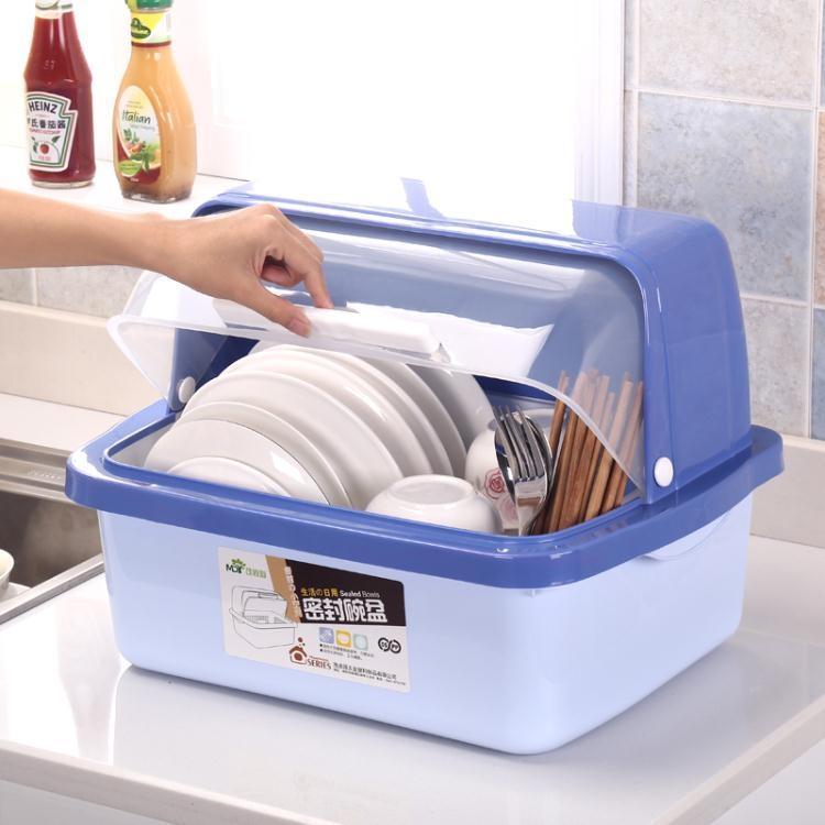 碗柜塑料廚房瀝水碗架帶蓋碗碟架放碗箱碗筷餐具收納盒碗盤置物架wy