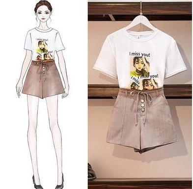 兩件式套裝網紅穿搭S-L/31435/新款時尚兩件套裝T恤 短裙褲闊腿褲女潮-開心購