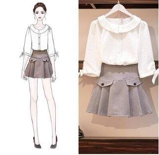 兩件式網紅款上衣半身裙31431/新款兩件套裝雪紡襯衣百褶A字裙短裙褲女裝-開心購