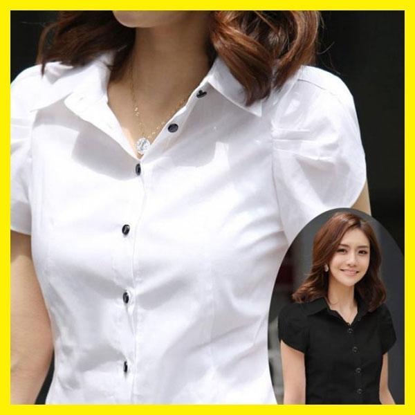 職業裝女夏大碼韓版修身OL胖mm工裝雪紡短袖襯衫女黑白-開心購