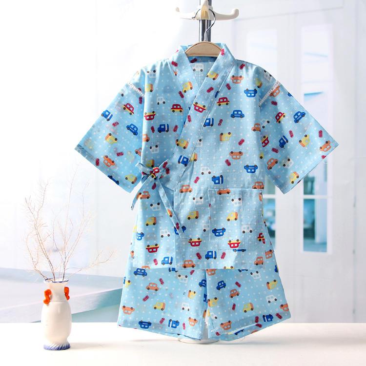 男女童純棉紗布日式家居服套裝兒童和服短袖睡身浴身空調服寶寶夏-開心購