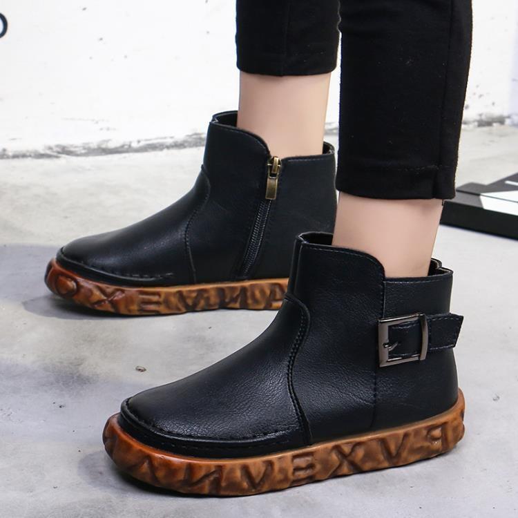 女童靴子秋冬季日韓公主短靴英倫風兒童馬丁靴男皮靴加絨-開心購