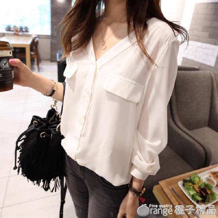 早秋新款韓版寬鬆顯瘦v領白色襯衫女學生百搭長袖休閒打底襯衣潮